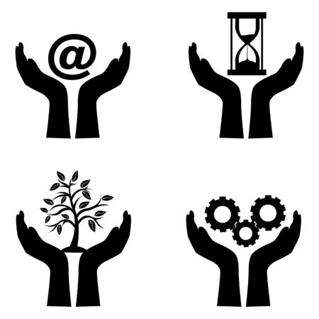 protection icon: illustration of technology icons on white background Illustration