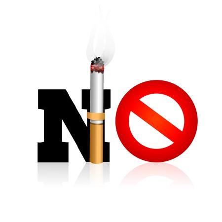 fumando: Ilustraci�n de no fumar en fondo blanco