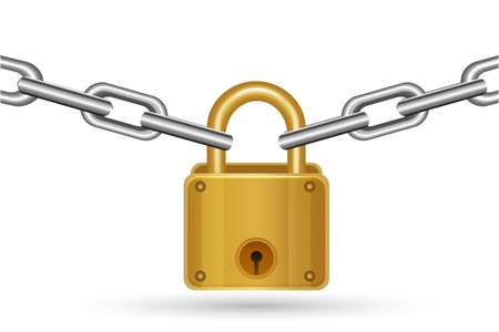 safe lock: illustration of lock with chain on white background