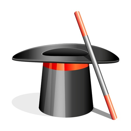 tricky: illustration of magic hat with stick on white background Illustration