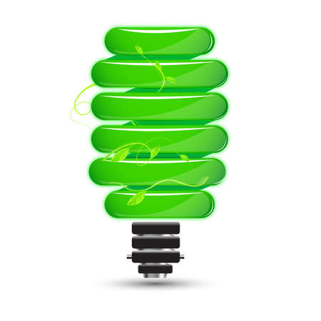 tubos fluorescentes: Ilustración de cfl natural sobre fondo blanco
