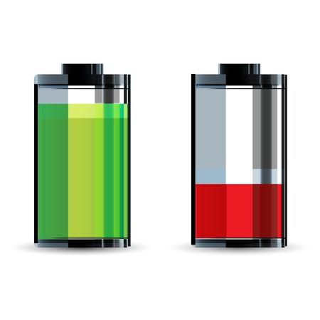spannung: Abbildung der Batterie-Niveau auf wei�em Hintergrund