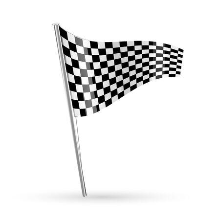 d�part course: Illustration du drapeau de course sur fond blanc