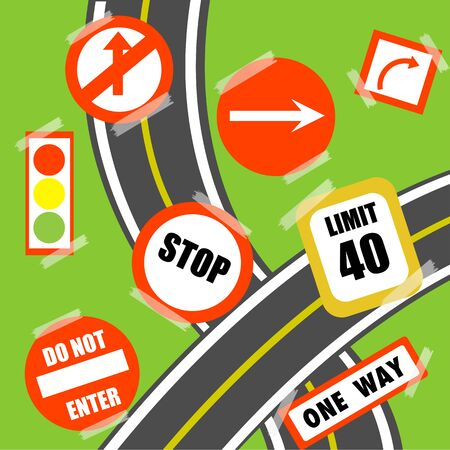 illustration of road signs on white background Vector