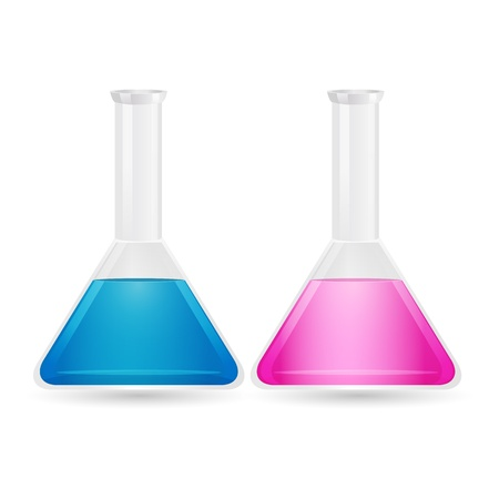 equipment experiment: illustration of chemistry beaker with solution on isolated background Illustration