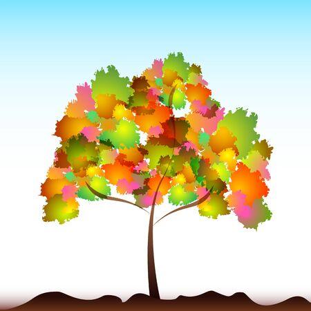 격리 된 배경에 다채로운 나무의 그림 일러스트