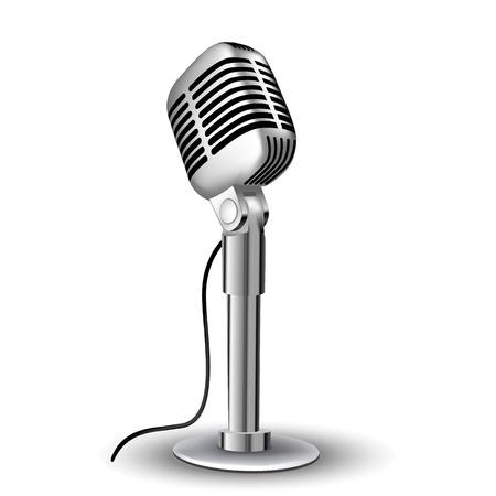 illustration of retro mic on white background Vector