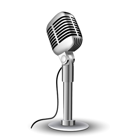 simbolos musicales: Ilustraci�n de mic retro sobre fondo blanco