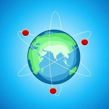 orbit: illustration of atom globe on abstract background