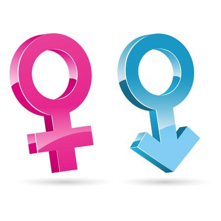 Ilustración de iconos femeninos masculinos sobre fondo blanco