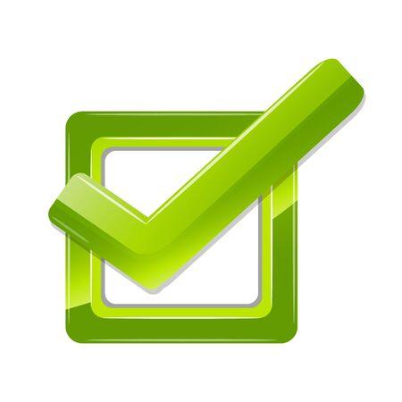 voting box: illustrazione di destra segno su sfondo bianco