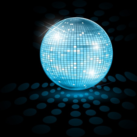 funky music: illustration of disco ball on abstract background