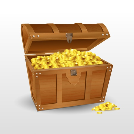 illustration of treasure chest with coins on white background Vectores