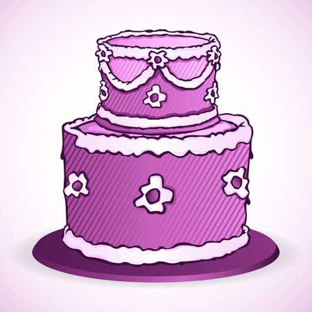 illustration of birthday cake on white background Stock Vector - 9269392