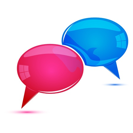 discussion forum: illustration of dialogue bubbles on white background