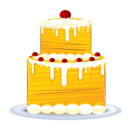 illustration of birthday cake on white background Stock Vector - 9269324