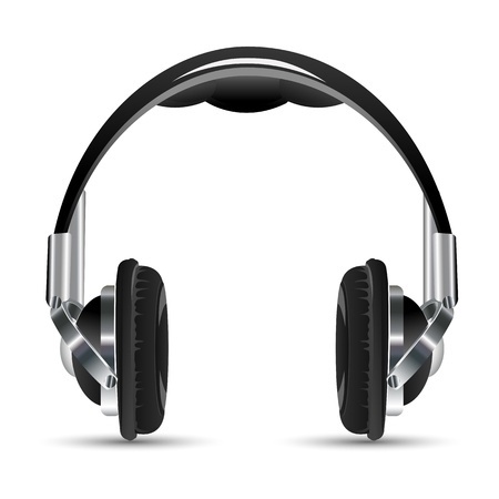 portable audio: illustration of headphone on white background Illustration