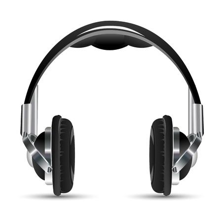 portable radio: Ilustraci�n de auriculares en fondo blanco