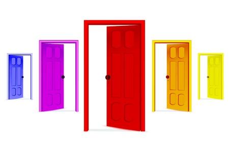 Illustration de portes ouvertes sur fond blanc