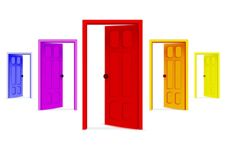 illustration of open doors on white background Illustration