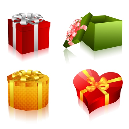 illustration of different shapes of gifts on white background Vector