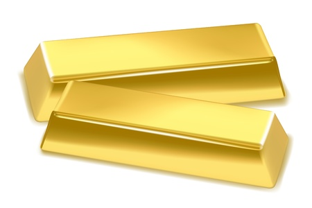 gold treasure: illustration of gold bricks on white background
