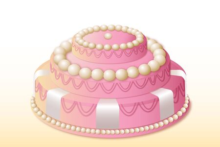 illustration of birthday cake on white background Stock Vector - 9269552
