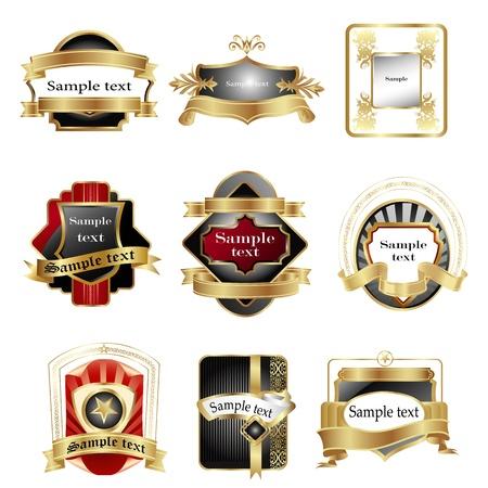 Ilustraci�n de diferentes logotipos con cintas sobre fondo blanco Foto de archivo - 9269476