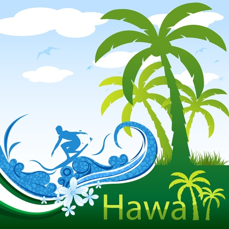 illustration of hawaii on abstract background Stock Vector - 9269273