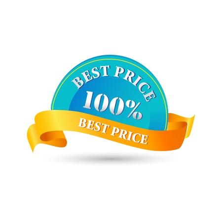 illustratie van 100% beste prijskaartje op witte achtergrond