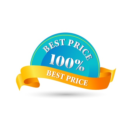 price reduction: illustration of 100% best price tag on white background