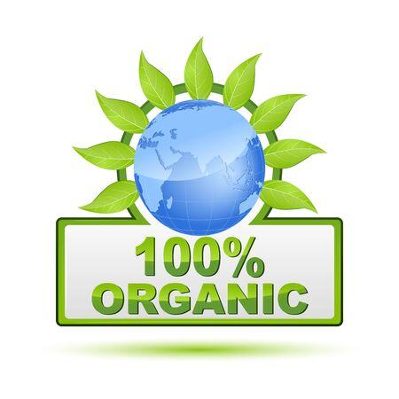 surety: illustration of 100% organic on white background Illustration