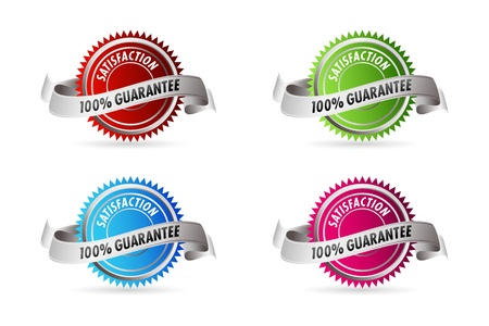 illustration of 100% guarantee satisfaction on white background Stock Vector - 9269341