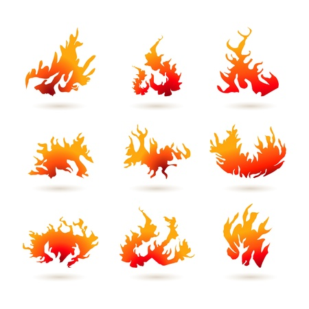 illustration of different shapes of fire on white background Stock Vector - 9269340