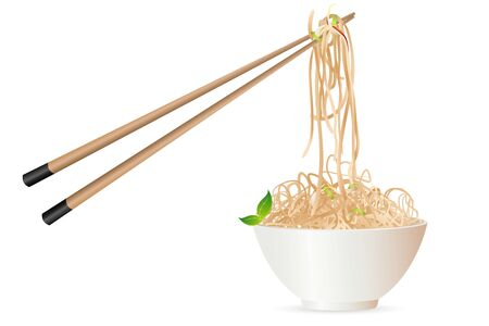 Abbildung Nudeln mit Chopstick auf weißem Hintergrund