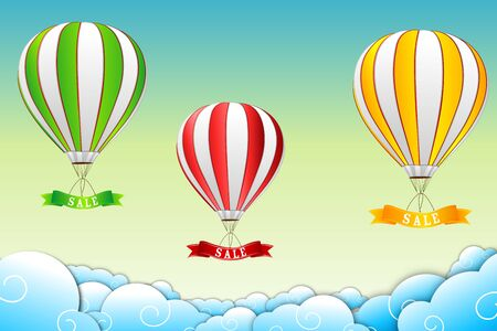 illustration of parachute with sale tag on abstract background Vector