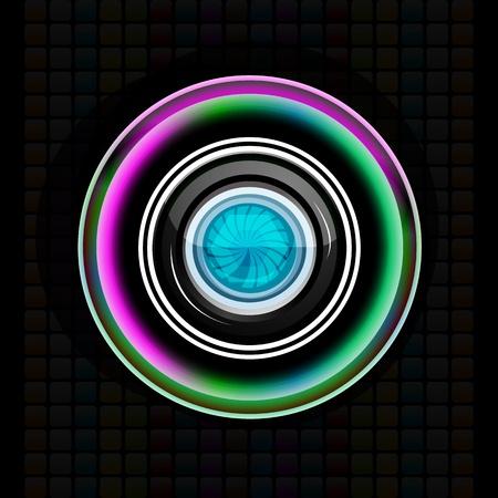 illustration of camera lens on abstract background Illustration