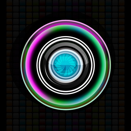 illustration of camera lens on abstract background Vectores
