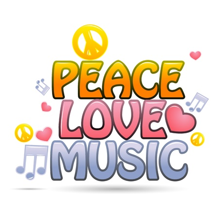 peace and love: illustration of peace love music on white background