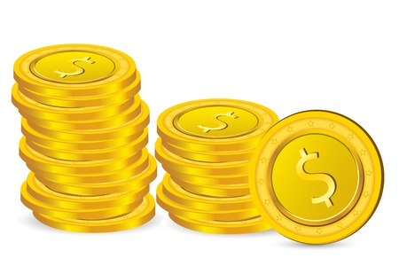 illustration of dollar coins on white background Vector
