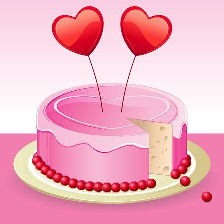 bougie coeur: illustration de g�teau d'anniversaire avec le coeur sur le fond abstrait