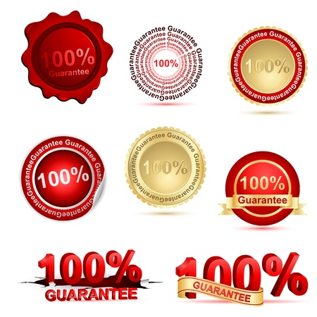 illustration of 100%  guarantee on white background Vector