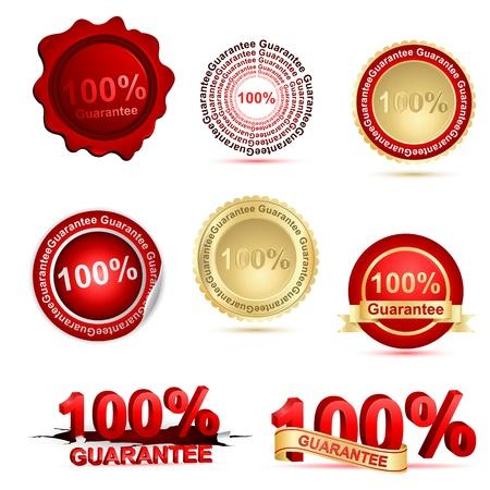 surety: illustrazione di garanzia al 100% su sfondo bianco Vettoriali