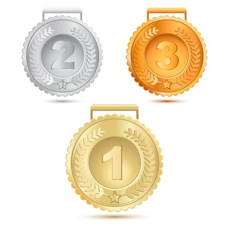 illustration of metallic medals on white background Vector