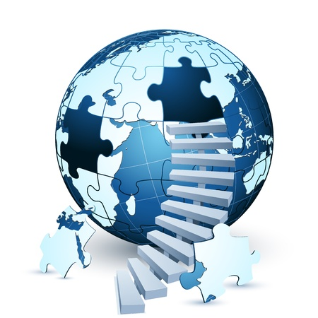 solve problems: illustration of earth jigsaw puzzle with stairs on white background