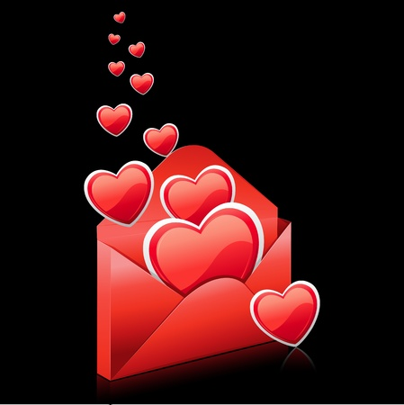 truelove: illustration of hearts in envelope on abstract background