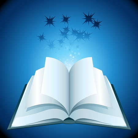 illustration of open book with stars on abstract background Stock Vector - 9269258