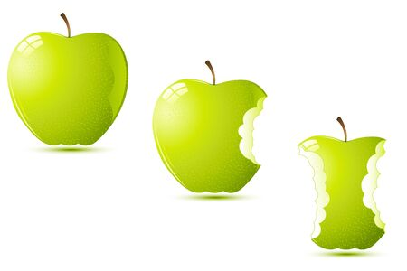 bite apple: illustration of raw apples on white background