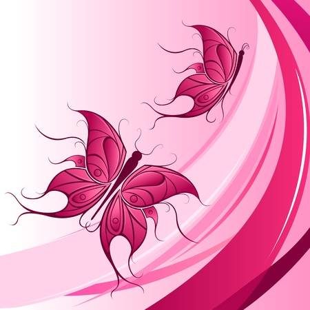 illustration of floral butterfly on abstract background Stock Vector - 9438459
