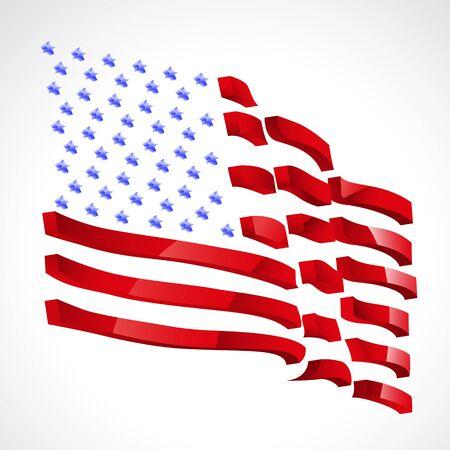continente americano: Ilustraci�n de la bandera de Estados Unidos sobre fondo blanco Vectores